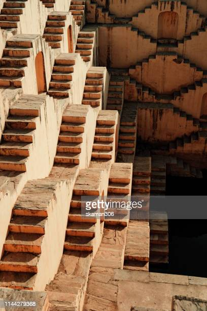 beautiful ancient stepwell panna meena ka kund near amber fort jaipur india - stepwell stock pictures, royalty-free photos & images