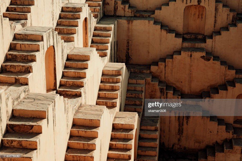 beautiful Ancient stepwell Panna Meena ka Kund near amber fort jaipur india : Stock Photo