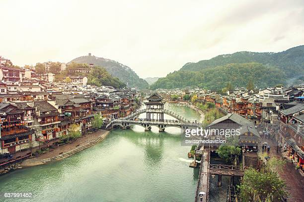 beautiful ancient village, fenghuang county, hunan, china - hunan province stock pictures, royalty-free photos & images