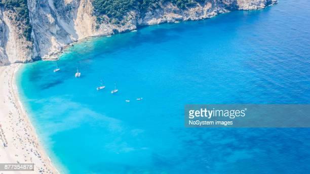 Beautiful and famous Myrtos beach.  Emerald green sea. High angle, drone view. Kefalonia, Greece, Europe.