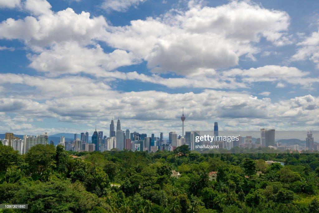 Beautiful and majestic aerial view of downtown Kuala Lumpur, Malaysia. : Stock Photo