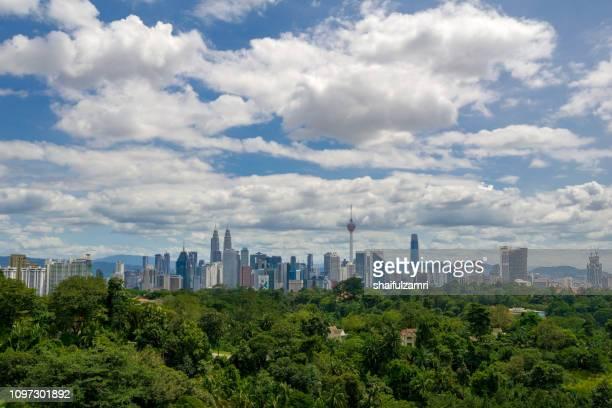 Beautiful and majestic aerial view of downtown Kuala Lumpur, Malaysia.