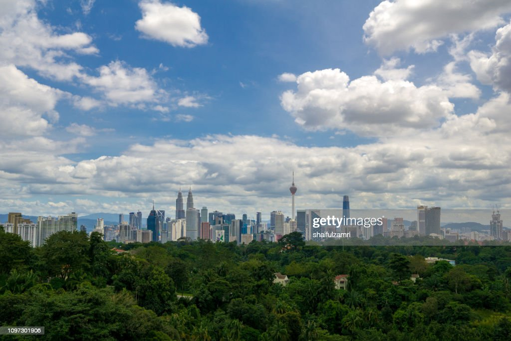 Beautiful and majestic aerial view of downtown Kuala Lumpur, Malaysia. : Stock Photo