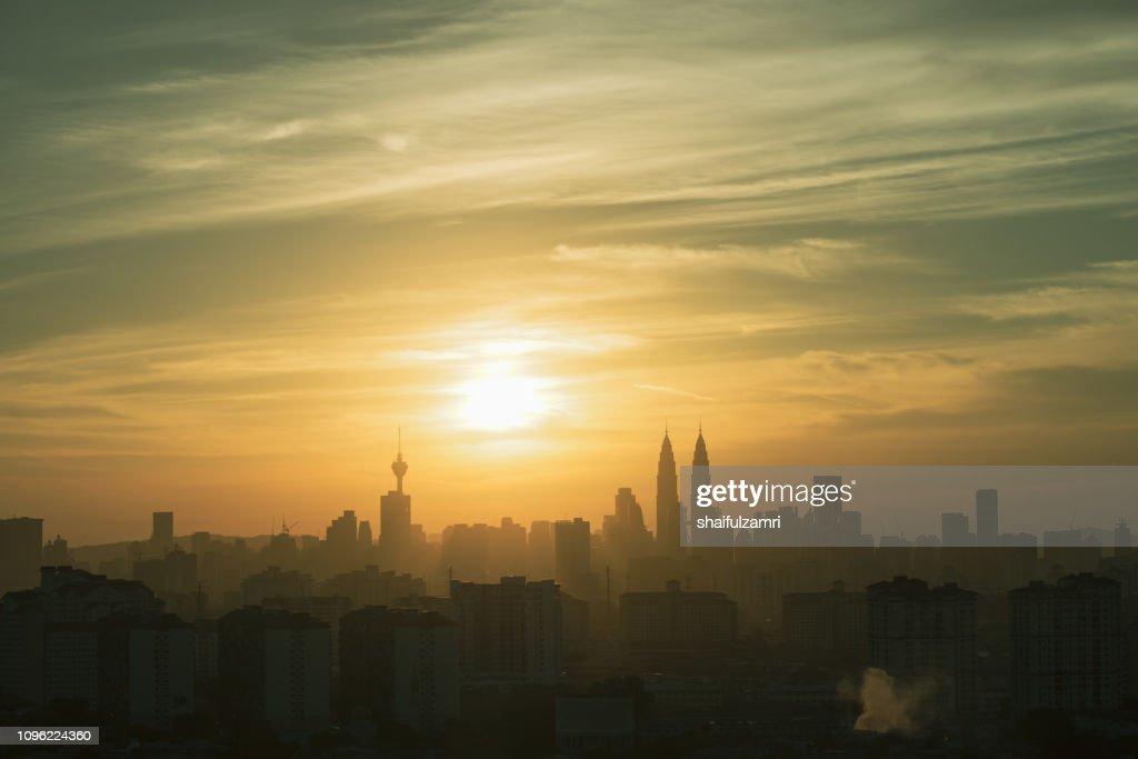 Beautiful and majestic sunset view of downtown Kuala Lumpur, Malaysia. : Stock Photo