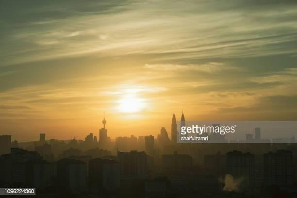 Beautiful and majestic sunset view of downtown Kuala Lumpur, Malaysia.