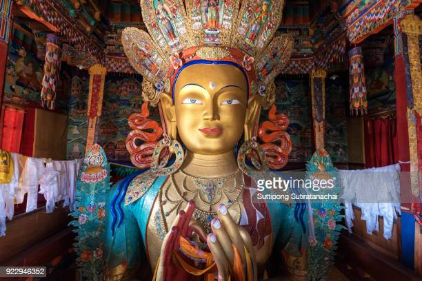 beautiful and respectful golden buddha statue in thiksey monastery temple , leh-ladakh , india - bodhisattva stock pictures, royalty-free photos & images
