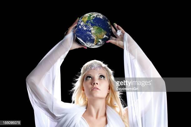 Beautiful Angel Looking at Earth