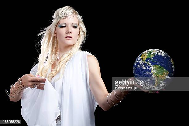 beautiful angel looking at earth - mystic goddess stock photos and pictures