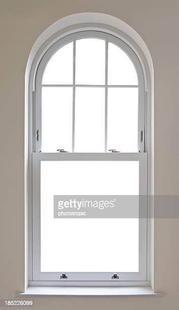 beautiful arched window with clipping path