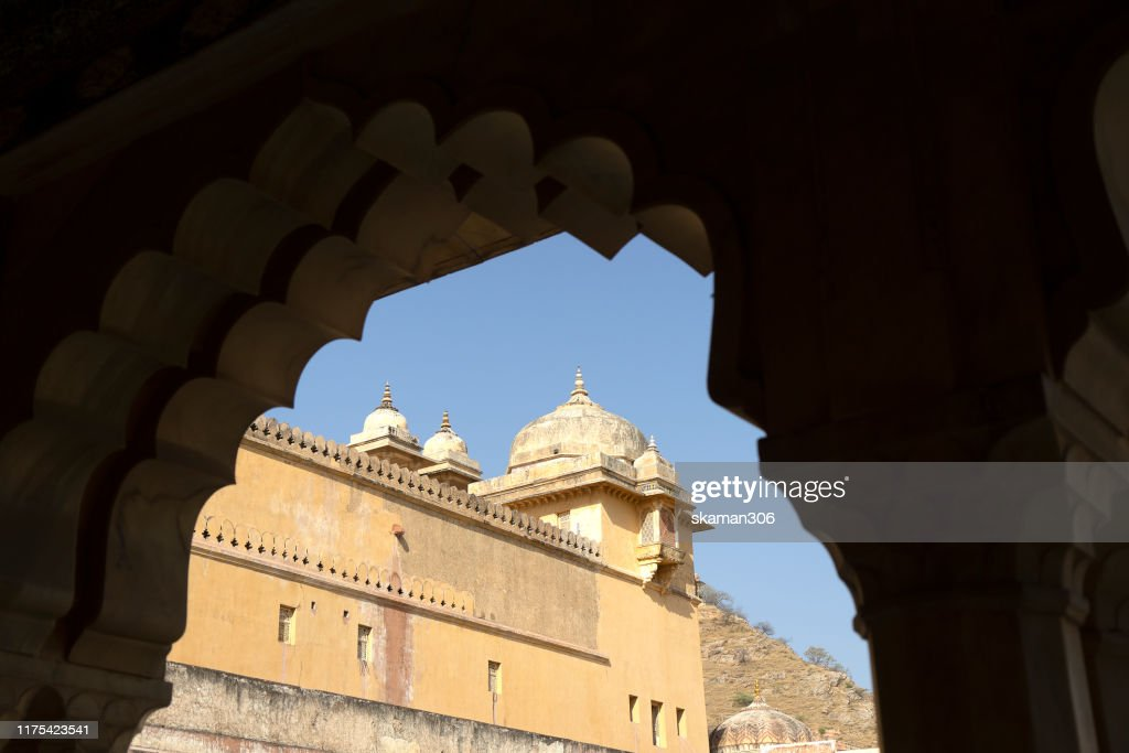 beautiful architecture  Amber fort and mughal empire at jaipur  rajasthan india : Stock Photo