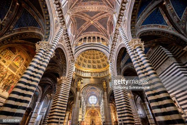 beautiful architecture and interior of art in siena duomo . one of the most important examples of gothic architecture in siena , italy - siena italy stock photos and pictures