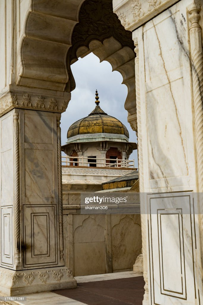 beautiful architecture  mughal empire at agra fort near agra india : Stock Photo