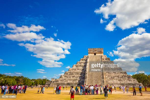 Beautiful architecture of Kukulkan pyramid in Chichen Itza, this pre-Columbian city situated in Mexico's Yucatan state.