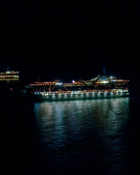 Beautiful arial view at night of the incredible Princess Cruise Ship without people due to the quarantine