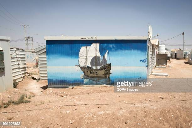 Beautiful artwork covers the walls of the shelters in Zaatari refugee camp There are about 14 million Syrian refugees in Jordan and only 20 percent...