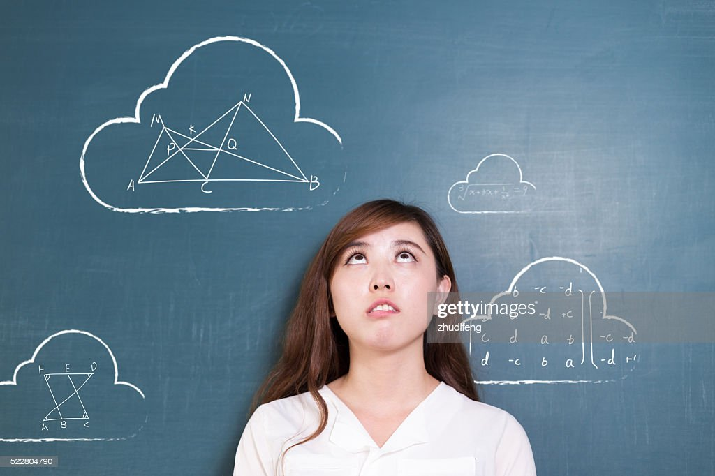 beautiful asian girl teacher and green blackboard with cloud and : Stock  Photo