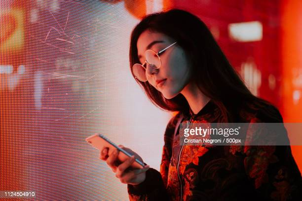 beautiful asian japanese girl street portraits - fluorescent stock pictures, royalty-free photos & images