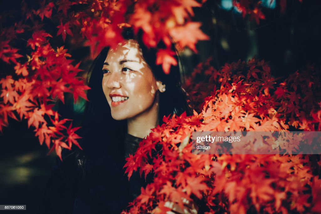 Beautiful Asian woman enjoying the scenics of Japanese red maple leaves : Stock Photo