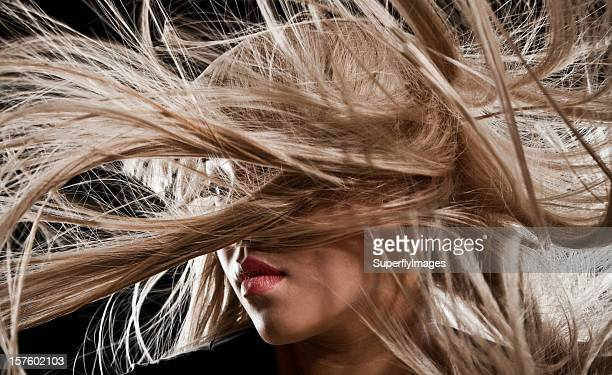 Beautiful Asian Woman with Long Blonde Blowing Hair