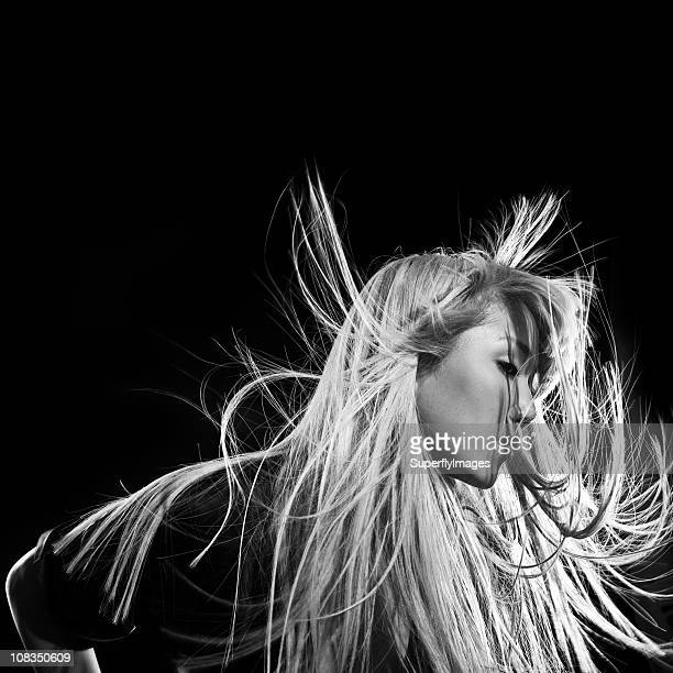 Beautiful Asian Woman with Windblown Blonde Hair, Black & White