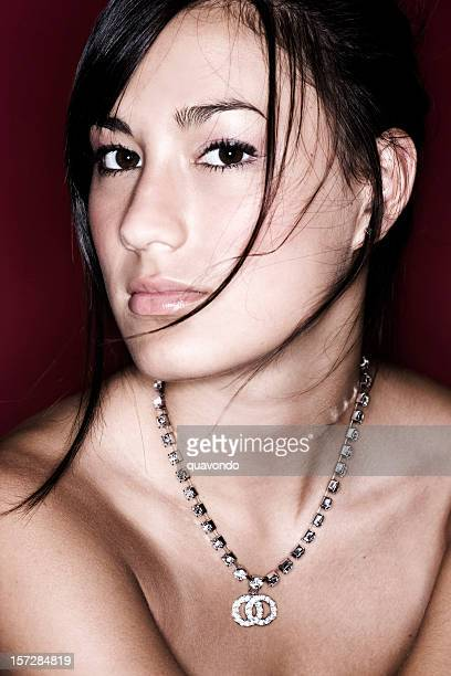 Asian Beautiful Young Woman Portrait Shirtless with Necklace, Copy Space