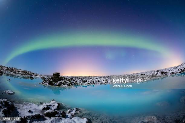 A beautiful  aurora dancing over the blue lagoon, Iceland