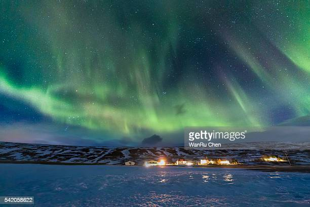 A beautiful  aurora dancing