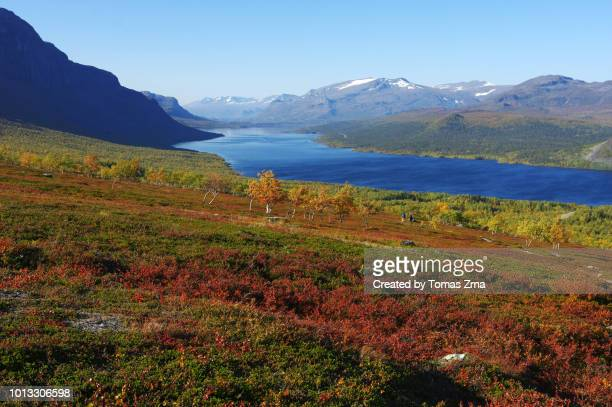 beautiful autumn landscape at saltoluokta - swedish lapland stock photos and pictures