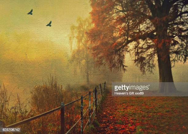 beautiful autumn - fine art painting stock pictures, royalty-free photos & images