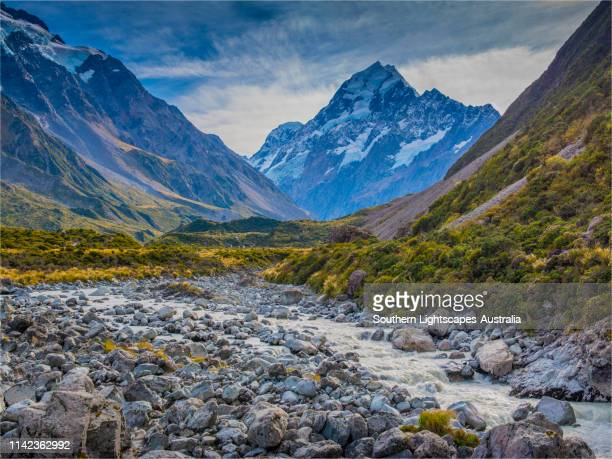 Beautiful Autumn tonings in the Hooker valley, Mount Cook National park, south island, New Zealand.