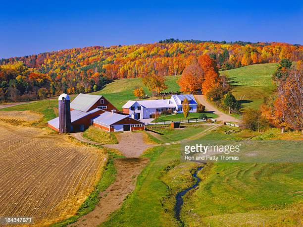 Beautiful autumn view of a farmhouse in Vermont