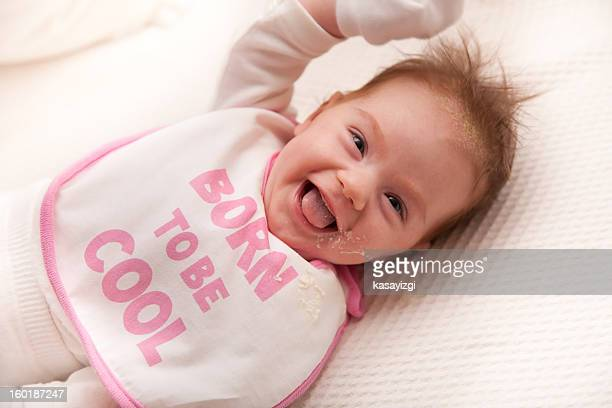 beautiful baby laughing after throwed up - vomiting stock photos and pictures