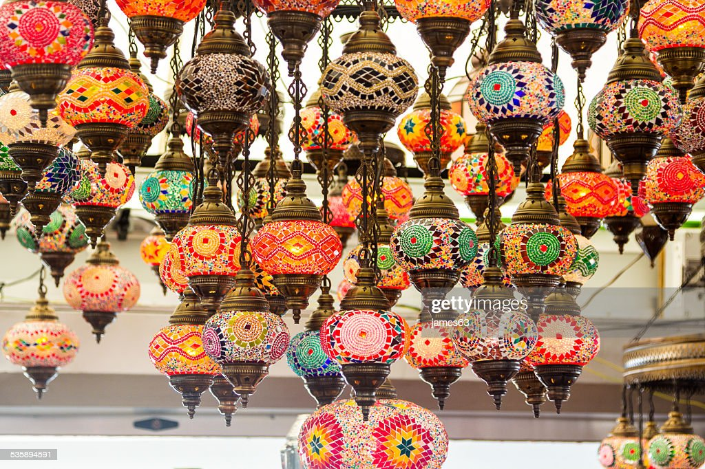 beautiful background with colorful lamps arabic style of decorat : Stock Photo