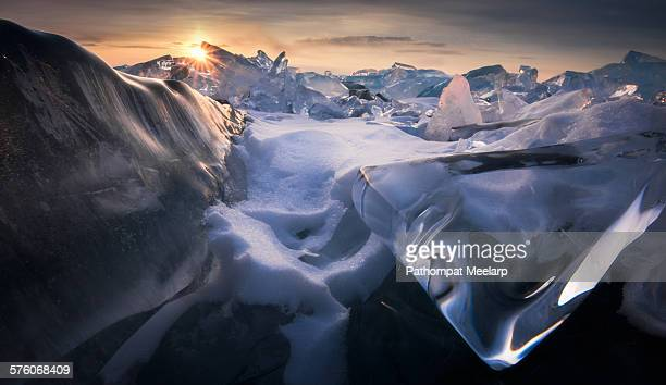 Beautiful Baikal Ice with the sunrise