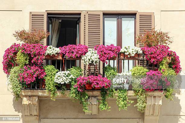 Beautiful balcony decorate with flower