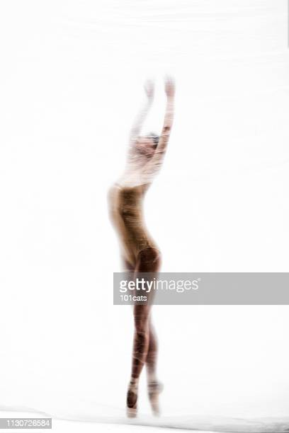 beautiful ballerina dancing in the dream world - nylon feet stock photos and pictures