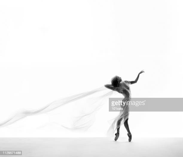 beautiful ballerina dancing with transparent thin nylon