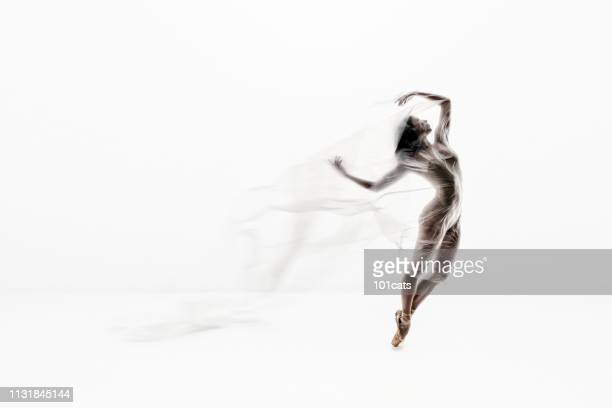beautiful ballerina dancing with transparent thin nylon white background - nylon feet stock photos and pictures