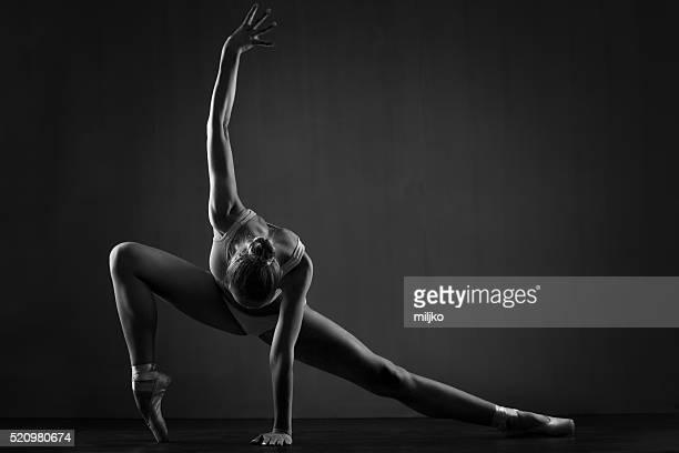 beautiful ballerina exercises - dancing stock photos and pictures