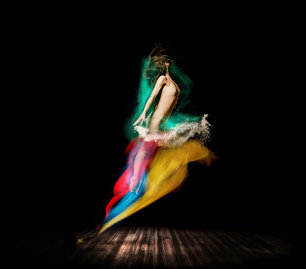 Beautiful ballet dancer, appear from magic lamp on stage - gettyimageskorea