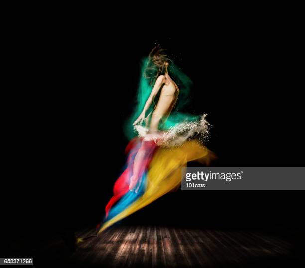 beautiful ballet dancer, appear from magic lamp on stage - art foto e immagini stock