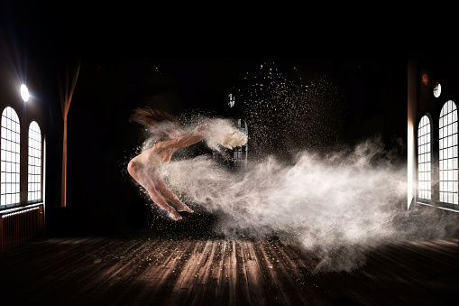 Beautiful ballet dancer, dancing with powder on stage - gettyimageskorea