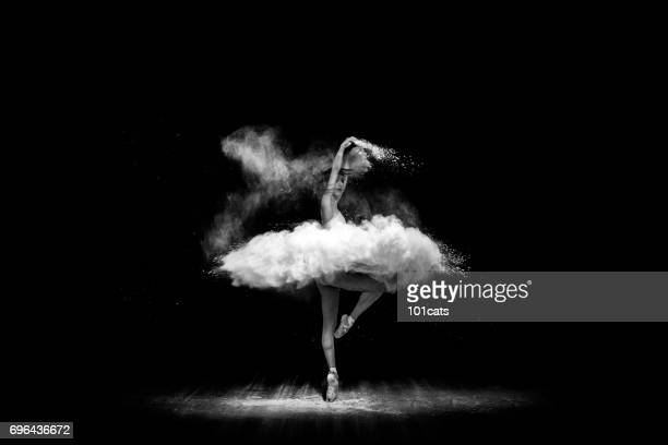 beautiful ballet dancer, dancing with powder on stage - ballet dancer stock pictures, royalty-free photos & images