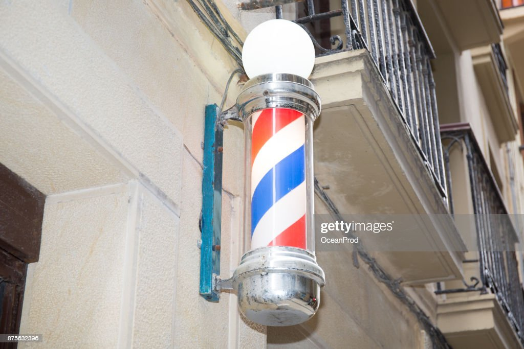 Beautiful Barber Shop Facade Symbol Of A Barbershop Lamp Stock Photo
