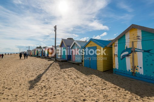 Beautiful Bathing Houses On White Sandy Beach At Brighton Stock Photo