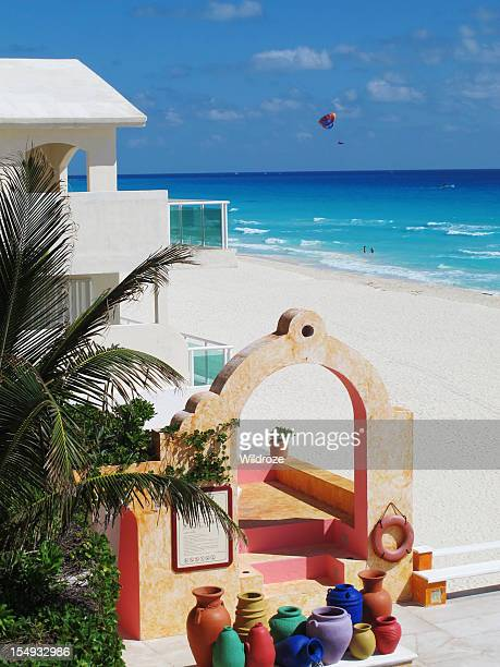 beautiful beach at cancun mexico - mayan riviera stock photos and pictures