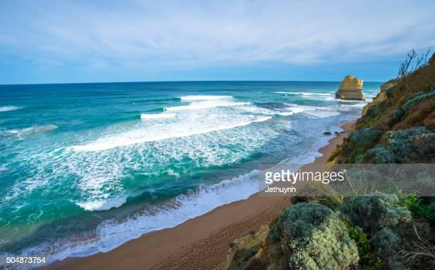 Beautiful beach at Twelve apostles. Great Ocean Road, Australia. Famous rock formations