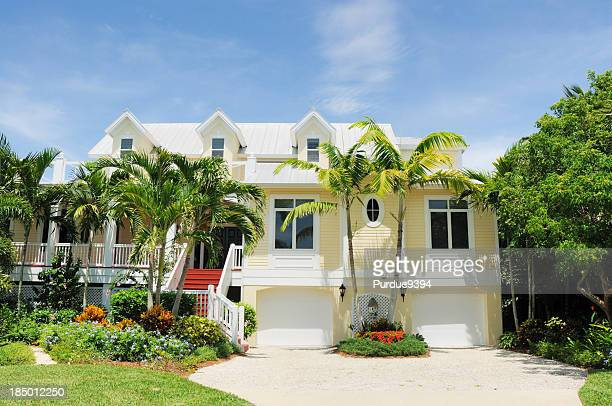 beautiful beach house on sanibel island florida - beach house stock pictures, royalty-free photos & images