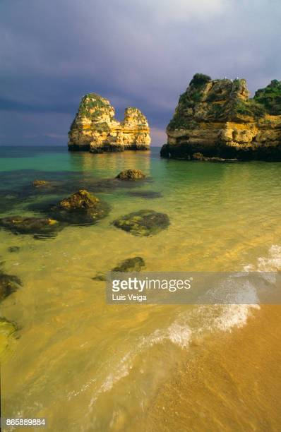 A beautiful beach in Armacao de Pera coastal town, Algarve region, Portugal