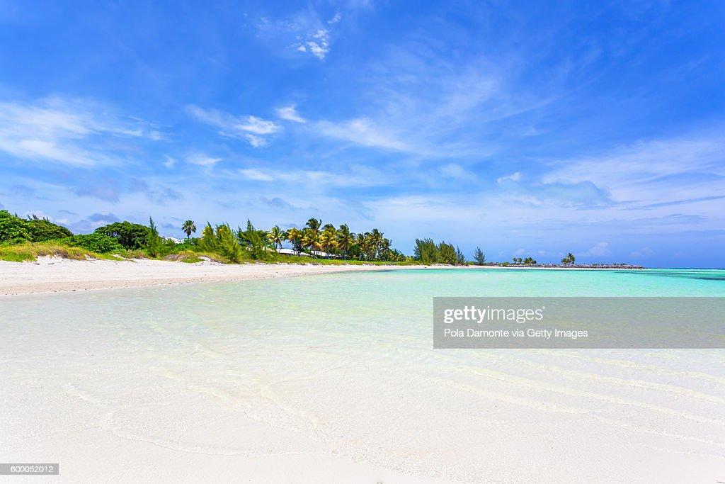 Beautiful beach in Bahamas, caribbean ocean and idyllic islands in a sunny day : Stock Photo
